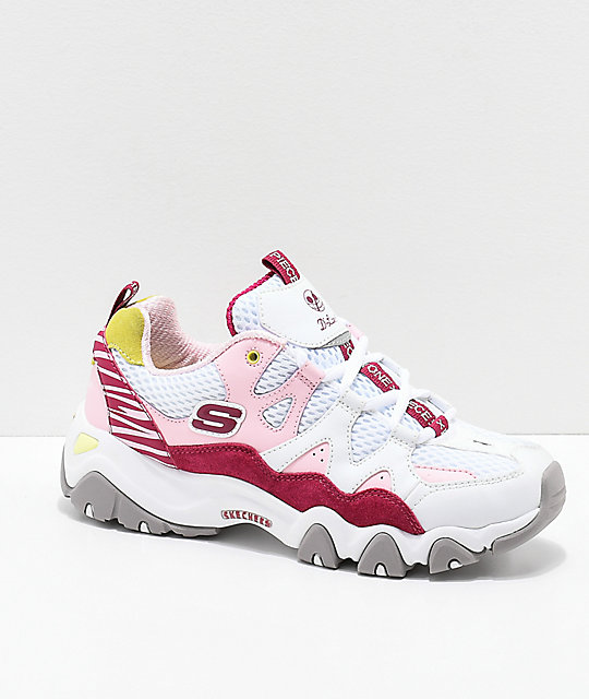5fb67c7730012 Skechers x One Piece D Lites 2 White   Pink Shoes