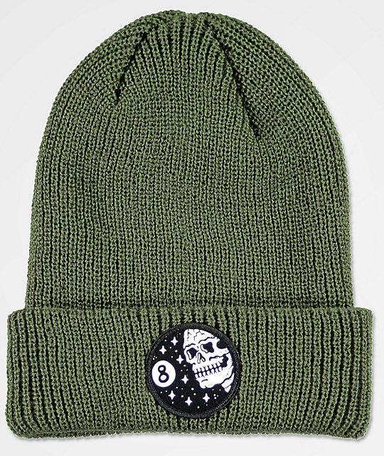 b6a5c921bab Sketchy Tank 8 Ball Correct Olive Beanie