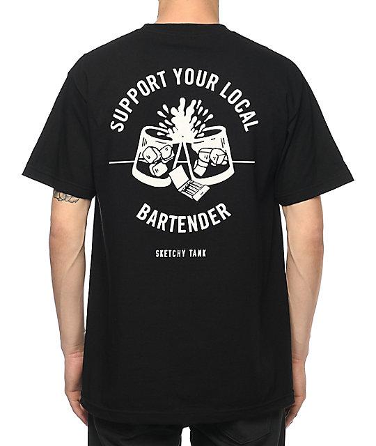Sketchy tank bartender black t shirt zumiez for Be sketchy t shirts
