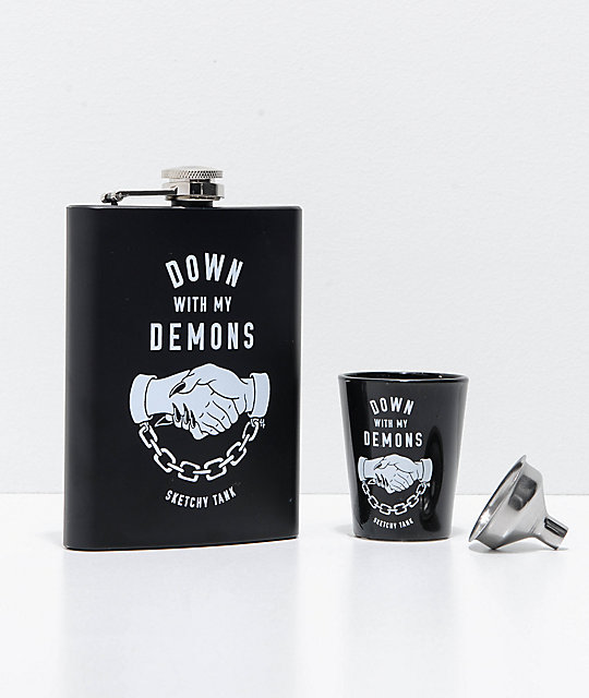 Sketchy Tank Demons Flask & Shot Set