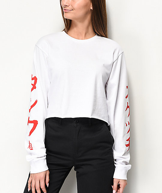Sketchy Tank Dragon White Long Sleeve Crop T-Shirt