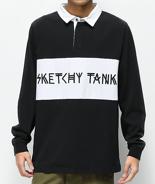 Sketchy Tank Drugby Black & White Long Sleeve Polo Shirt