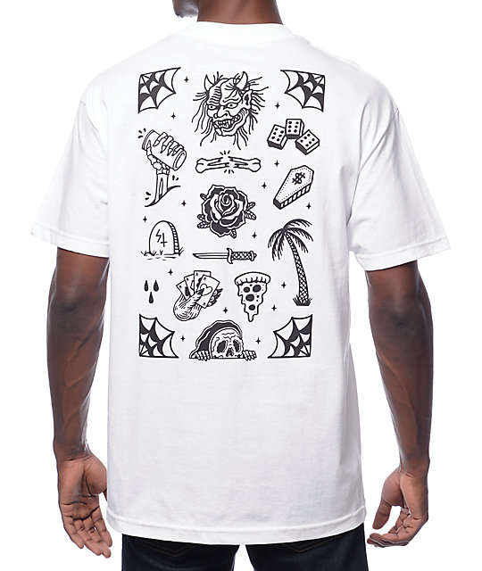 Sketchy tank flash white t shirt zumiez for Be sketchy t shirts