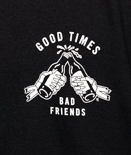 Sketchy Tank Good Times Bad Friends camiseta de béisbol