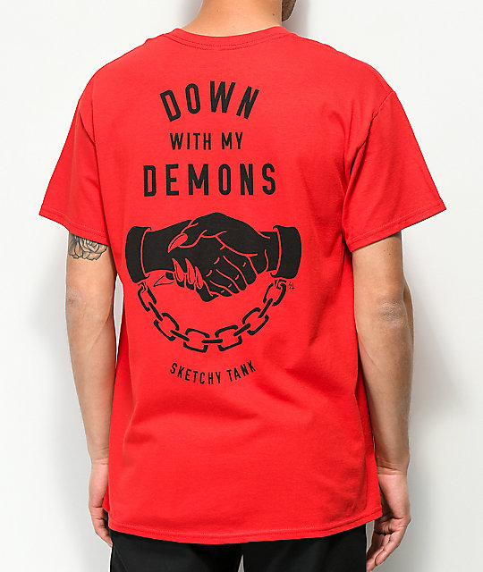 Sketchy Tank Lurking Class Demons Red T-Shirt