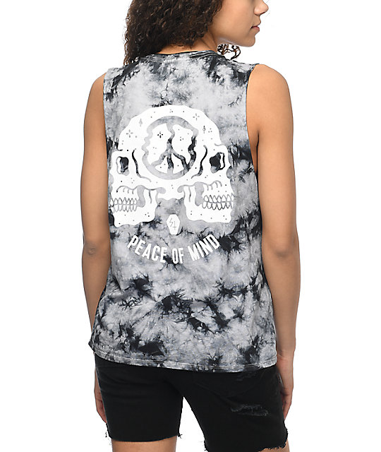 Sketchy Tank Peace of Mind Black Tie Dye Muscle Tank Top