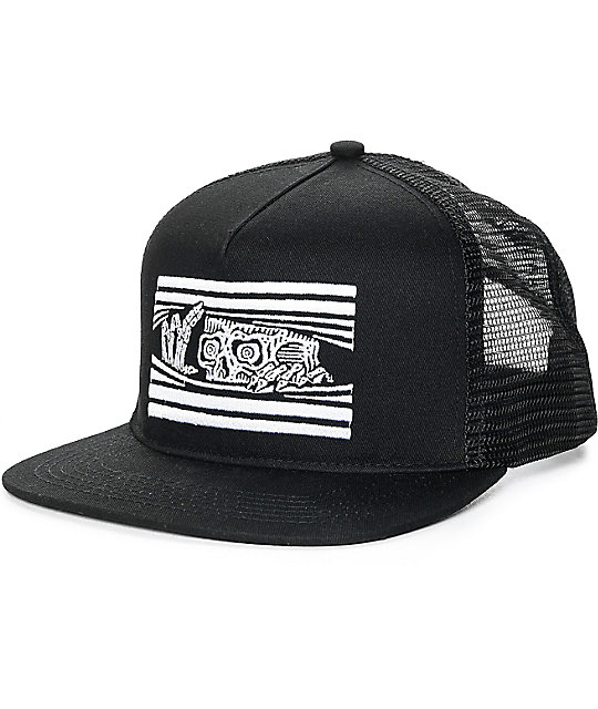 Sketchy Tank Peeking Black Snapback Hat