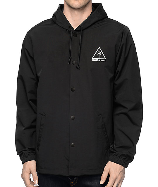 Sketchy Tank Snakes Black Hooded Coaches Jacket