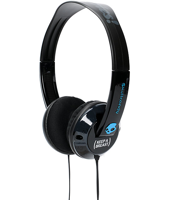 Skullcandy x Keep A Breast I Love Boobies Black Uprock Headphones