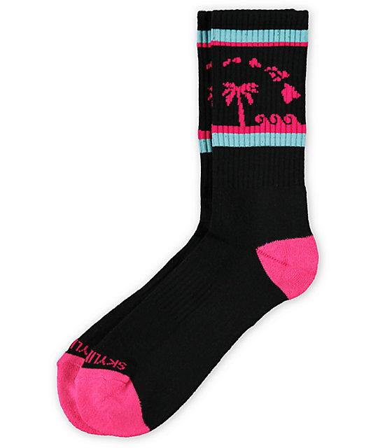 Skyline Socks Hawaii Black, Teal & Pink Crew Socks
