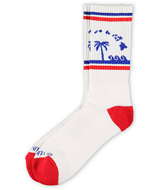 Skyline Socks Hawaii Red, White & Blue Crew Socks