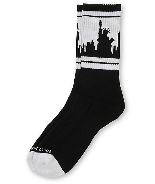 Skyline Socks New York Black & Grey Crew Socks