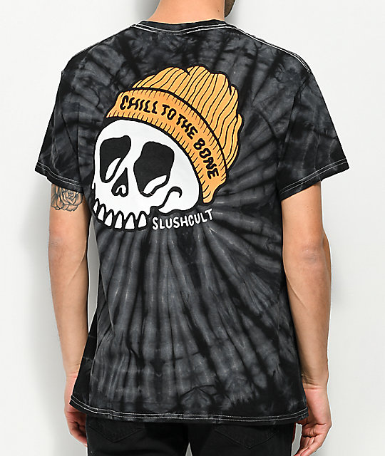 Slushcult Chill To The Bone Black Tie Dye T-Shirt