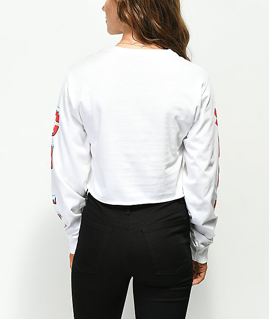 Slushcult White Cropped Long Sleeve T-Shirt