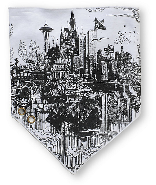 Spacecraft Cloud Town On Fire White Face Mask Bandana