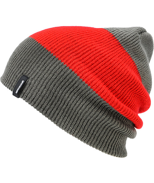 Spacecraft Offender Grey & Red 3 Stripe Beanie