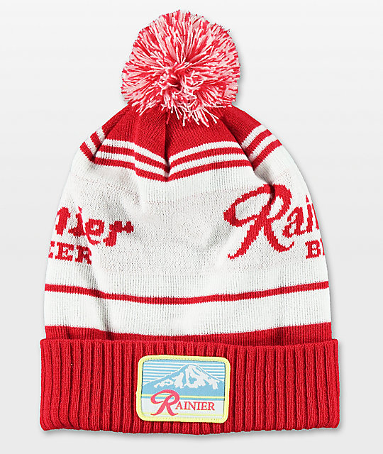 Spacecraft Rainier Red &Amp; White Pom Beanie by Spacecraft