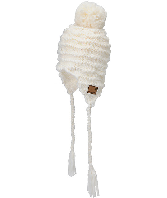 Spacecraft Sienna White Pom Earflap Beanie