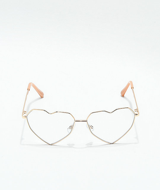 Spectrum Rose Gold Heart Clear Glasses