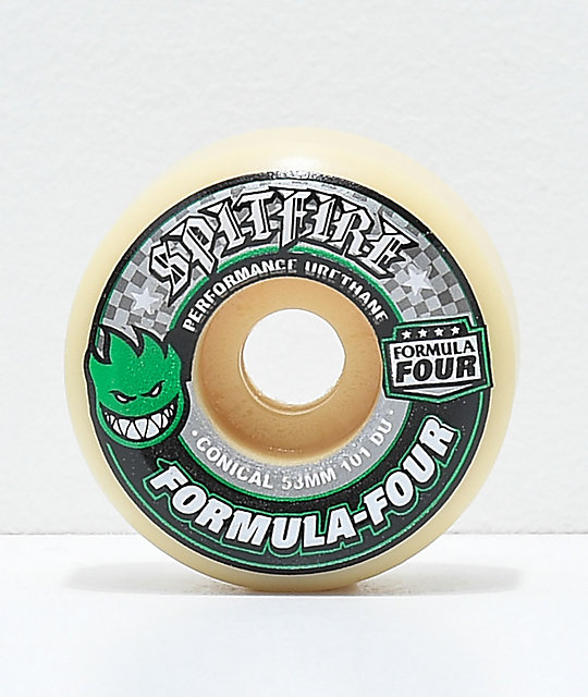 Spitfire Formula Four Conical 53mm 101a Green Skateboard Wheels