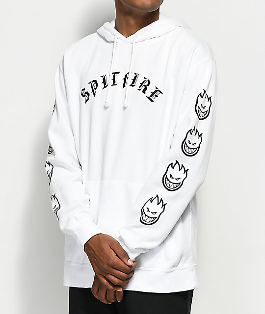 Spitfire Old English White & Black Hoodie ...