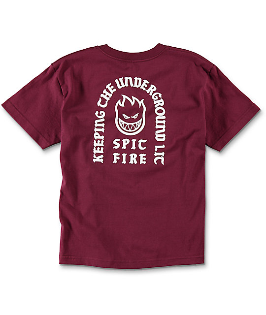 Spitfire Steady Rockin Boys Burgundy T-Shirt