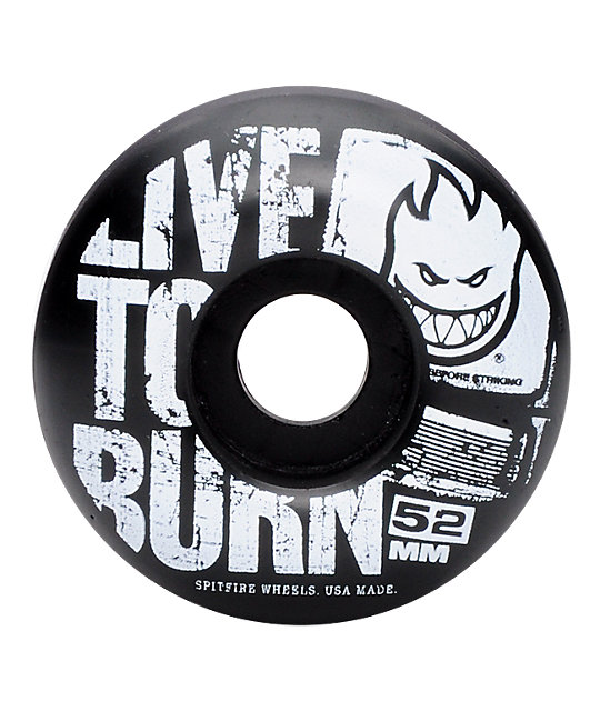 Spitfire Striker Black & White 52mm Skateboard Wheels