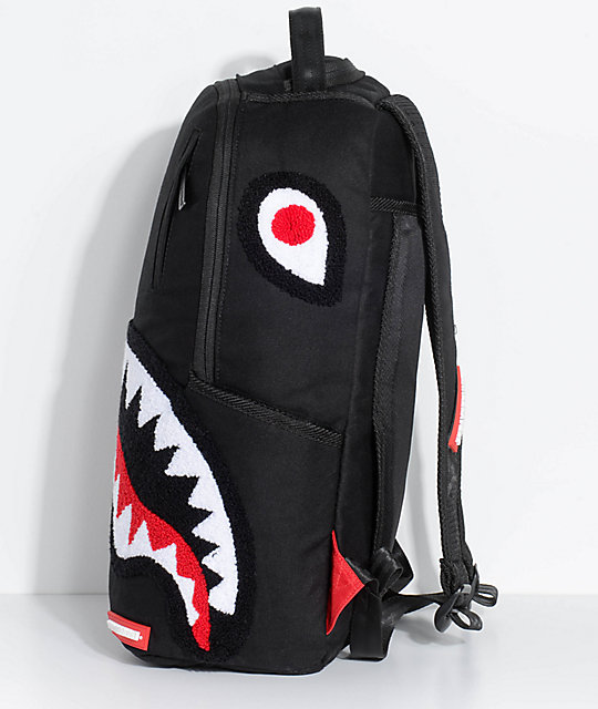 Sprayground Ghost Chenille Shark Black Backpack | Zumiez