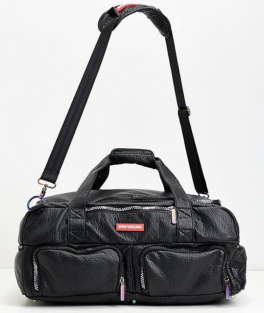 Gym Bag Spray: Sprayground Iridescent Black Leather Duffle Bag