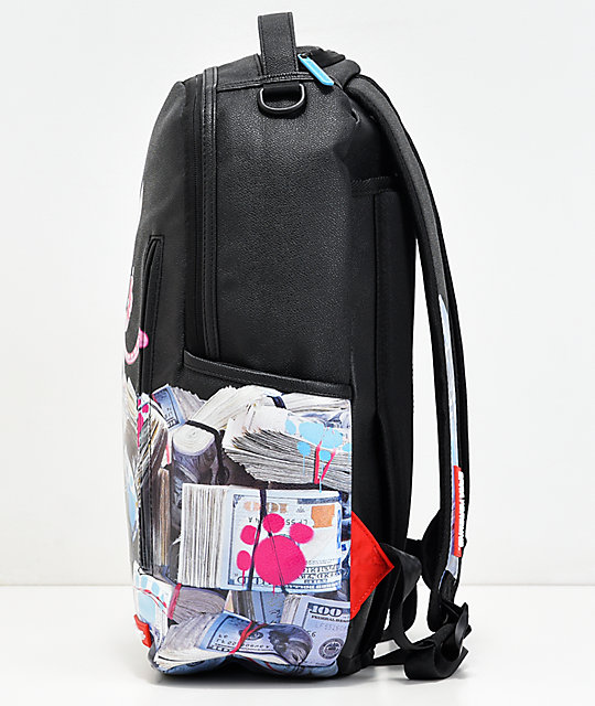 Sprayground Kitten Money Stacks Black Vinyl Backpack
