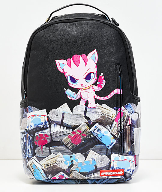 Sprayground Kitten Money Stacks mochila de vinilo negro