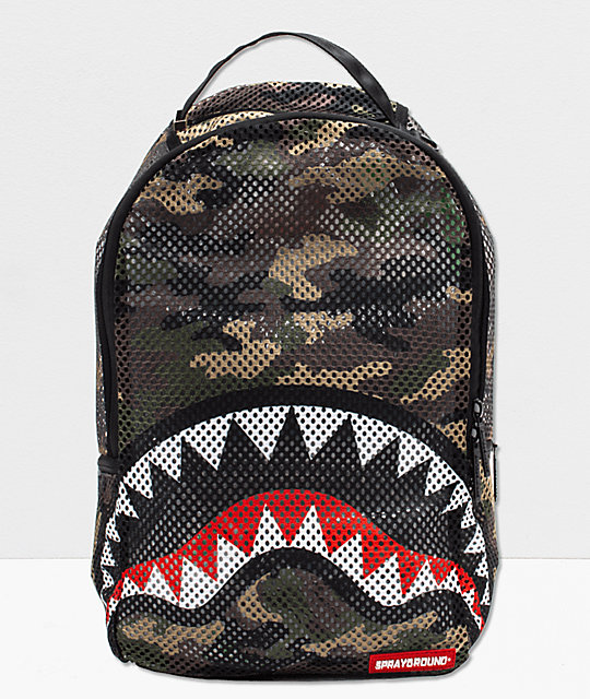 Bape Shark Backpack >> Sprayground Shark Camo Mesh Backpack