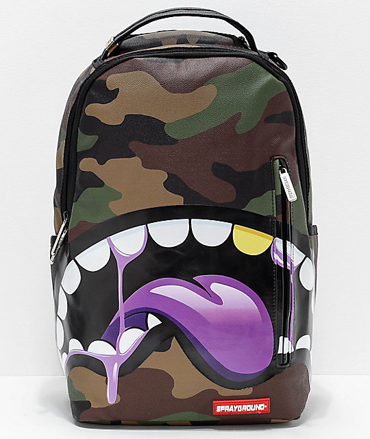 Sprayground Shark Tongue Remix Purple Backpack