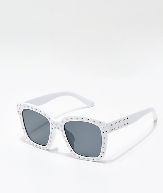 Sprinkle Square Lens White Sunglasses