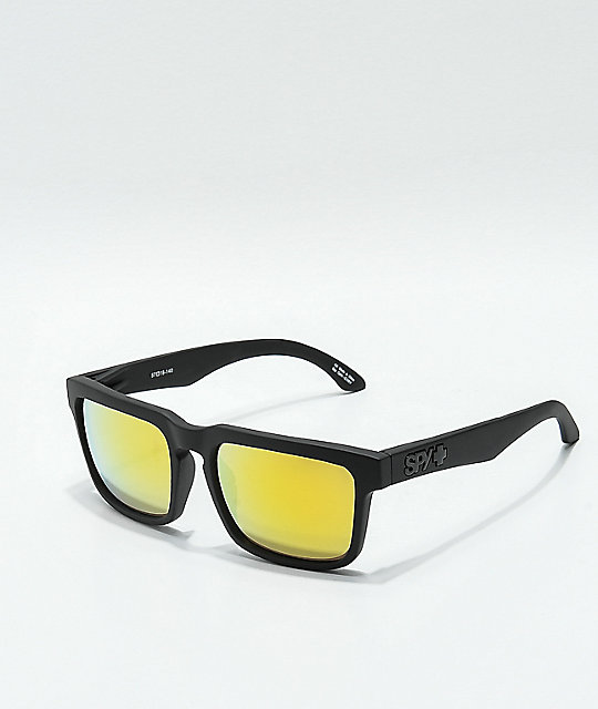 Spy Helm Matte Black & Gold Sunglasses