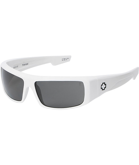 Spy Sunglasses Logan White Gloss Polarized Sunglasses