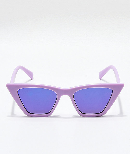 Square Cateye Lavender & Blue Mirror Sunglasses