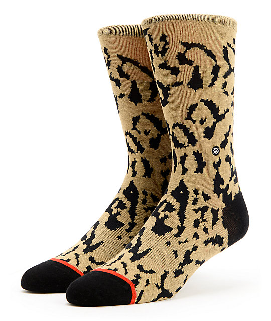 Stance Cheetah Tan & Black Crew Socks