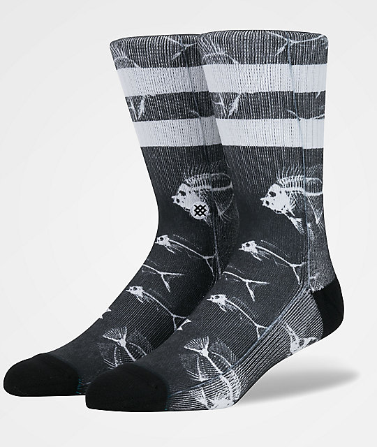 Stance Fish Bone Black & White Crew Socks
