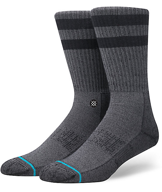 STANCE MENS GRAY JOVEN ATHLETIC RIBBED CREW SOCKS