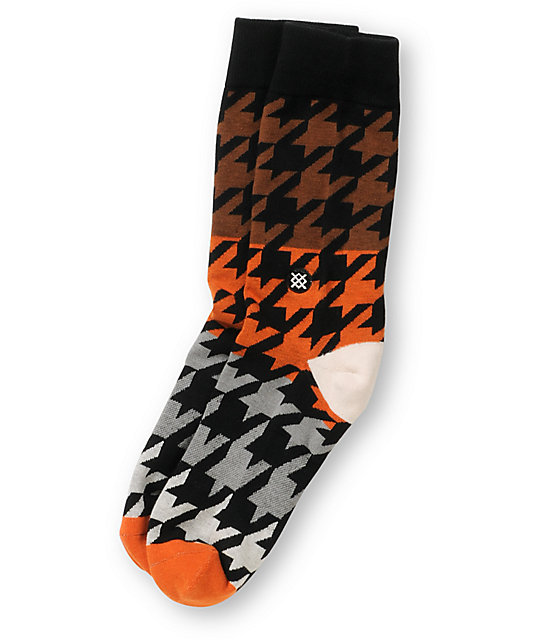 Stance Matlock Orange Houndstooth Crew Socks