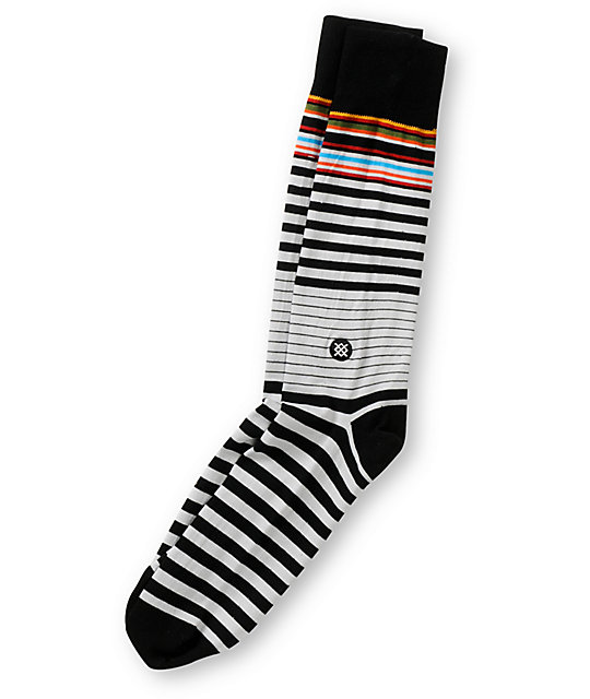 Stance Mercer White & Black Stripe Crew Socks