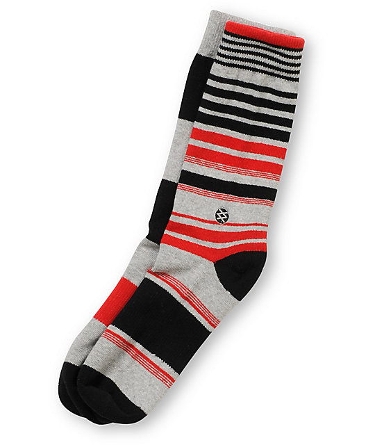 Stance New Castle Black, Red, & Grey Striped Crew Socks