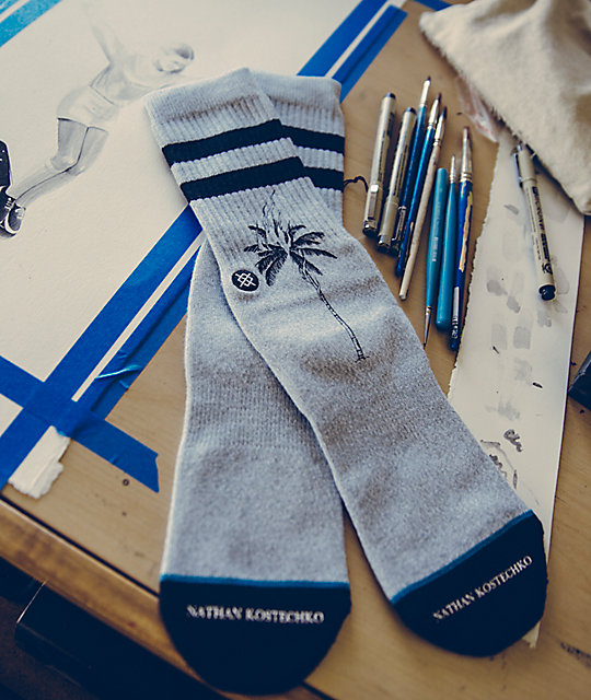 Stance x DROPOUT CLUB INTL. Burning Palm Nathan Crew Socks