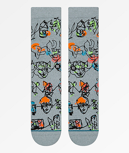 Stance x Gregory Siff Electric Slide Grey Crew Socks