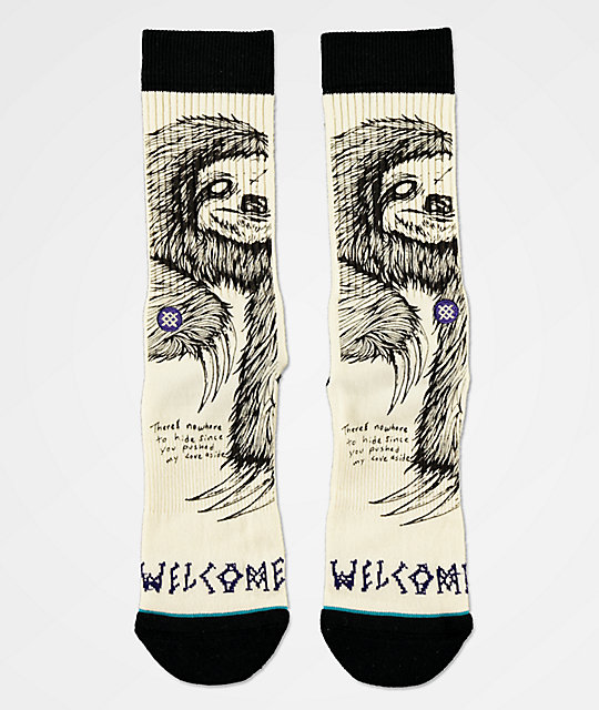 Stance x Welcome Love Aside calcetines blancos y negros