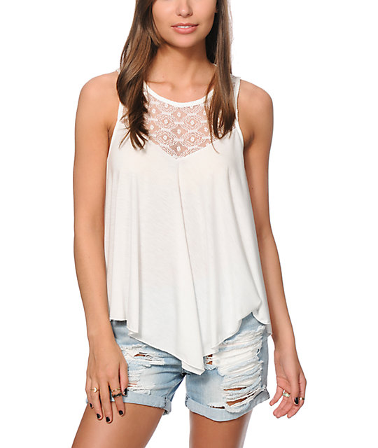 Starling Kendra Lace Open Back Cream Tank Top