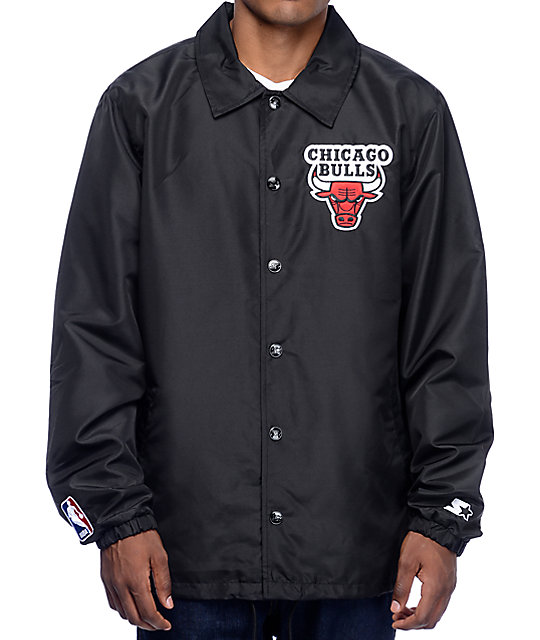 1493f491494 Starter Bulls Black Coaches Jacket