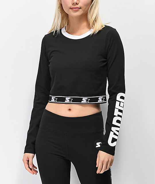 f2fb923e Starter Fitted Crop Black Long Sleeve T-Shirt | Zumiez