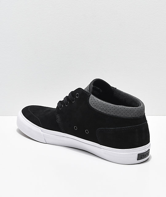 State Albany Black & Pewter Suede Skate Shoes